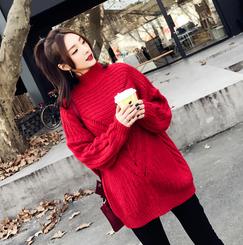 时尚孕妇装冬季韩版宽松加厚圆领镂空提花大红色孕妇毛衣外套