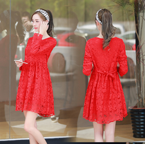 2017春装新款修身长袖孕妇中长款连衣裙红色孕妇连衣裙蕾丝裙潮